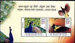 Papua & New Guinea - India Joint Issue, Birds Of Paradise & Peaock - Emissions Communes
