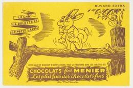 Buvard 20.8 X 13.8 Chocolats MENIER Le Chat, La Belette Et Le Petit Lapin  Marron Sur Jaune - Cocoa & Chocolat