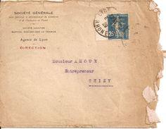 ENVELOPPE SOCIETE GENERALE AVEC TIMBRE 25 C SEMEUSE PERFORE  ISSU DE CARNET - 1921-1960: Modern Period
