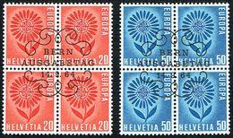 EUROPA 2xBLOCS DE 4 OBLITERES 1er/J.14.9.1964. C/.S.B.K. Nr:410/411. Y&TELLIER Nr:735/736. MICHEL Nr:800/801. - Schweiz