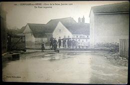 51 CONFLANS SUR SEINE CRUE DE LA SEINE JANVIER 1910 PONT IMPROVISE  INONDATIONS 1910 - France