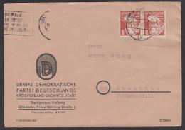 Chemnitz Ortsbrief 1949 8 Pf Köpfe I Karl Marx, Abs. LDPD - Zona Sovietica