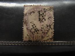 Perf. 22. Perforé. Perfin. 1.1/2p Violet. Victoria. Y&T N°77 - Perfins