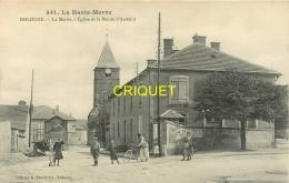 52 Bologne, La Mairie, L'Eglise Et Route D'Andelot, Habitants Au 1er Plan, Cycliste.... - Autres Communes
