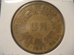 1 Sol De Oro 1947 PERU Coin - Pérou