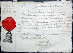 REVOLUTION FRANCAISE CHARENTE EMIGRE CERTIFICAT DE DOMICILITION POUR UN CURE SOUPCONNE D'EMIGRATION CACHETS SIGNATURES - Historische Dokumente