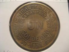 1 Sol De Oro 1951 PERU Coin - Pérou
