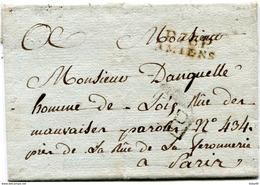 SOMME De AMIENS LSC Pour PARIS De 1804 Avec Linéaire De Port Payé + Verso Taxe De 3 - Marcofilie (Brieven)