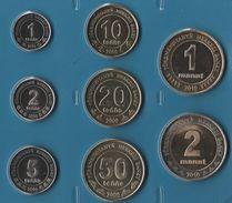 TURKMENISTAN  COIN SET 8 MONNAIES 1 TENNESI - 2 MANAT  2009 - 2010 BIMETAL - Turkmenistan