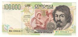 Italy 100000 Lire Caravaggio 2 Type Serie A 1994 SUP / AUNC .SA. - [ 2] 1946-… : Républic