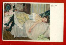 SEMI NUDE WOMAN BY EDWARD CUCUEL VINTAGE POSTCARD 2549 - Künstlerkarten