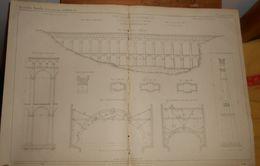 Plan Du Pont Aqueduc De Roquefavour Sur L'Arc.Canal De La Durance à Marseille. 1857. - Public Works