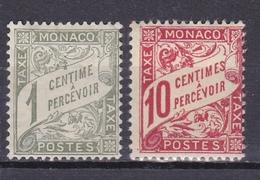MONACO 1905/09 TIMBRE POSTE TAXE  N° 1 A 3 * ET OBL. LE LOT DE 4 TIMBRES - Monaco