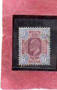 GREAT BRITAIN GRAN BRETAGNA 1902 1911 KING EDWARD VII NINE PENNY 9p USATO USED OBLITERE' - Usati