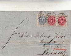 Danmark To Suisse. Cover  Posterim 4 + 8 + 8 Ore Anno 1876 Vari Timbri Di Posta Al Retro - 1864-04 (Christian IX)