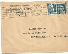 MAINE Et LOIRE - Dépt N° 49 = CHOLET 1948 (BD 4 Lignes) =  FLAMME RBV ' FOIRE EXPOSITION / FIN SEPTEMBRE ' - Postmark Collection (Covers)