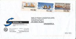 Spain Cover With Frama ATM Labels Sent To Denmark La Jonquera 23-5-200? - 1931-Heute: 2. Rep. - ... Juan Carlos I