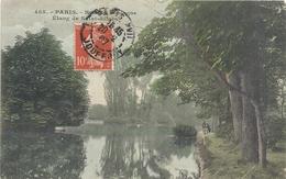 485. PARIS . BOIS DE BOULOGNE . ETANG DE SAINT-JAMES + PECHEURS . AFFR EN 1907 SUR RECTO - Arrondissement: 16