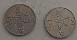 SPAGNA – 50 CENTESIMOS – 1966 – 2 MONETE – (114) - 50 Centesimi