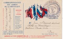 Cachet Ouvriers Militaires Sidi-Abdallah Sur Carte Correspondance De 1915 - Guerra De 1914-18