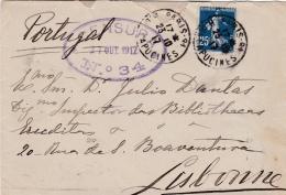 Cachet Censure No 34 Sur Lettre Pour Le Potugal De 1917 Affranchie Avec Une Semeuse 25 C Bleu - Poststempel (Briefe)