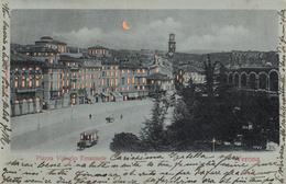 Thématiques Italie Italy Verone Verona Piazza Vittorio Emanuele Au Claire De Lune Cachet 1901 Timbre Déchiré - Verona