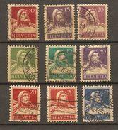 Suisse 1914/31 - Guillaume Tell - Petit Lot De 9  Timbres Oblitérés - Suisse