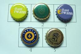 Lot N° 02-1 : 5 Capsules De Bière (parfait état - Pas De Trace De Décapsuleur)  Beer - Cerveza - Birra - Cerveza