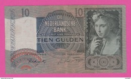 PAYS BAS - 10 Gulden Du 16 Juni 1942 - Pick 56b VF+ - [2] 1815-… : Kingdom Of The Netherlands