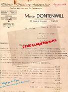 54- NANCY- RARE FACTURE MARCEL DONTENWILL- TOLERIE PEINTURE AUTOMOBILE-CARROSSERIE SECURIT TRIPLEX- 1958 - Cars