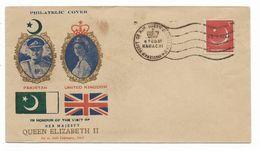 Pakistan 1961 Special Visit Postmark Queen Elizabeth II 1 FEB 61 KARACHI - Pakistan