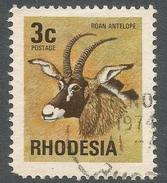 Rhodesia. 1974 Antelopes, Wild Flowers & Butterflies. 3c Used SG 491 - Rhodesia (1964-1980)
