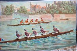 AVIRON SPORT NAUTIQUE UNE COURSE SUR RIVIERE EN 1900 CHROMO DES ANNEES 1900 QUELQUES PLIS  ORIGINALE 35 X 23 CM - Sports