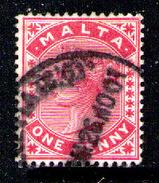 MALTA 1885  - 1p ROSE - From Set Used - Malta (...-1964)