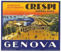 Luggage Label / Etiquette Bagage - Albergo Ristorante Crespi Genova - Andrea Doria - Etiketten Van Hotels