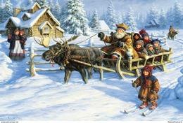 #41/12 Children Winter Winter Fun Merry Christmas  Happy New Year Robert Duncan Russian Modern Rare New Postcard - Nieuwjaar