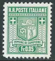 1944 CAMPIONE STEMMA DEL COMUNE 5 CENT D. 11 1/2 SENZA GOMMA - I28 - 1944-45 République Sociale