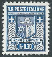 1944 CAMPIONE STEMMA DEL COMUNE 30 CENT D. 11 1/2 SENZA GOMMA - I28 - Emissions Locales/autonomes