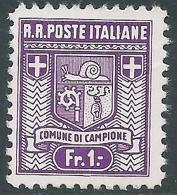 1944 CAMPIONE STEMMA DEL COMUNE 1 F D. 11 1/2 SENZA GOMMA - I28 - 1944-45 République Sociale