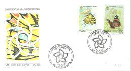 FDC 1993 MALTA - Vlinders
