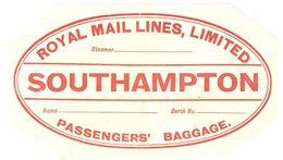 Luggage Label / Etiquette Bagage - Royal Mail Lines Southampton - Unused - Bateaux