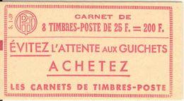FRANCE - BOOKLET / CARNET, Yvert 1011C-c1, 1959, 8x25 Muller, S1 - Carnets