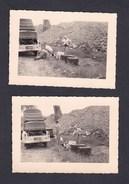 Photo Originale Vintage Snapshot Lot De 2 Congo Belge Opel Rekord Bagages Panne Pique Nique - Automobiles