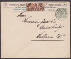 "GS, Mi-Nr. P4 10 C1, ""Ausstellung Heilbronn"", 1897, Ortsbedarf, Senkr. Mittelbug, O - Wuerttemberg"
