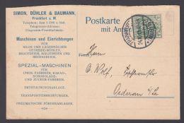"""Mi-Nr. 85I, EF Auf Dek. Firmen Werbekarte, Marke Perfin """"SBB"""", Simon, Bühler &Baumann, Frankfurt/Main, 1913 Gelaufen - Deutschland"""