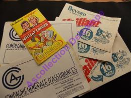 Lot 7 Buvards Compagnie Generale Assurances, Vaillant, Milliat Frères - Trade Cards