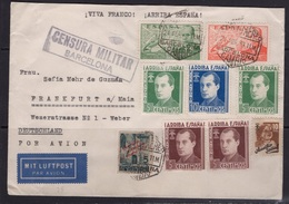 España 1939. Carta De Barcelona A Frankfurt. Primo De Rivera. Censura. - Marcas De Censura Nacional
