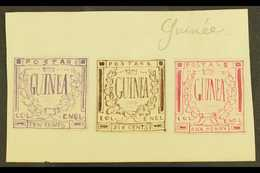 """ENGLISH GUINEA ? A Group Of Three 1861 Hand Painted Stamp Sized Essays Produced In France And Inscribed """"GUINEA"""" In A Cr - Unclassified"""