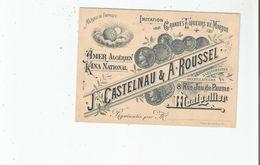 MONTPELLIER CARTE DE VISITE ANCIENNE DES LIQURISTES DISTILLATEURS J CASTELNAU ET A ROUSSEL 8 RUE JEU DE PAUME - Visiting Cards