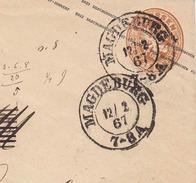 Brief PREUSSEN 1867 - 3 Sgr Ganzsache Auf Brief Magdeburg > Hamburg - Preussen